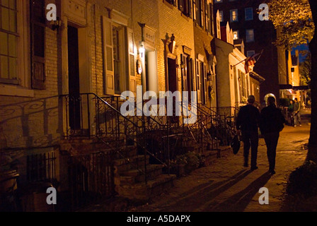 Street scene at night with rowhouses in Georgetown section of Washington DC USA - Stock Photo