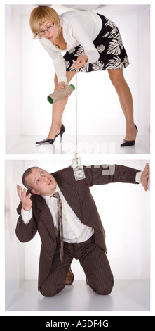 businesspeople in the small white cube fishing - Stock Photo