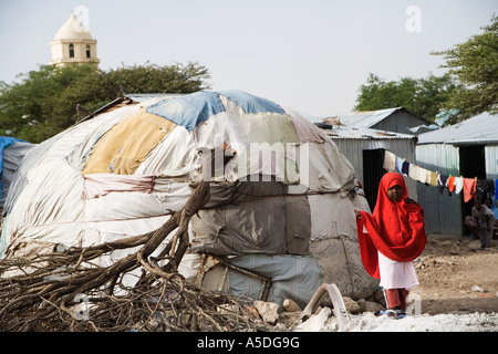 Somali girl in an Internally Displaced   (IDP's) camp in Hargeisa, the capital of Somaliland - Stock Photo