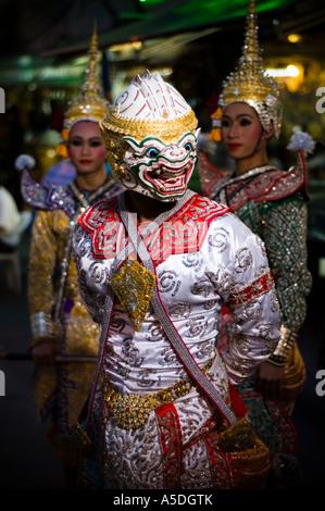 Stock photo of Thai dancers performing a Khon dance on Khao San Road in Bangkok Thailand - Stock Photo