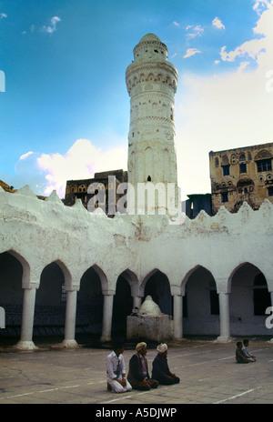 Djibla Yemen Medieval Mosque Men Praying - Stock Photo