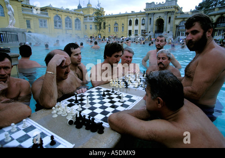 Budapest men playing chess in the outdoor thermal pool of Szechenyi Baths - Stock Photo