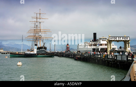Hyde St Pier Maritime boat and ship museum scene, San Francisco California USA - Stock Photo