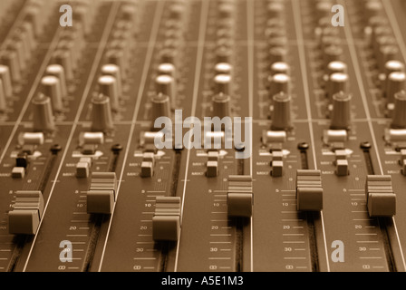Electronic Mixing Desk in a Sound Studio, Close Up. - Stock Photo