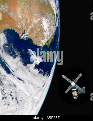 Skylab in orbit around the Earth Earth from Space  - Stock Photo