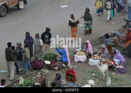Harar, Ethiopia, women selling bundles of Qat to buyers in the market - Stock Photo