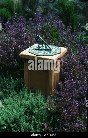 Sundial in herb garden - Stock Photo