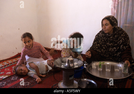 A Saharawi refugee family in Tindouf Western Algeria - Stock Photo