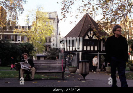 Soho Square is a square in London s Soho neighborhood with a park and garden area at its centre - Stock Photo