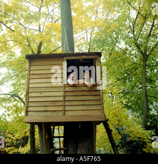 Two boys brothers sitting in a tree house - Stock Photo