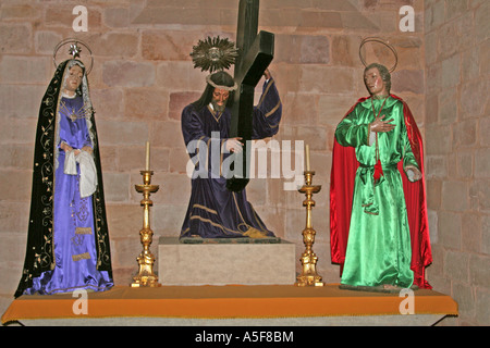 The grieving holy family Easter Passion group Silves Cathedral Algarve Portugal - Stock Photo