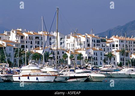 Yachts docked at Puerto Jose Banus in Marbella Spain - Stock Photo