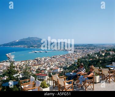Restaurant terrace with panoramic view over the harbour, Bochali, Zakynthos Town, Zakynthos (Zante), Ionian Islands, - Stock Photo