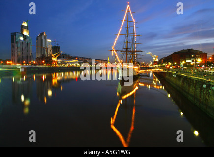 view of Corbeta Uruguay at dusk, Puerto Madero Buenos Aires, Argentina - Stock Photo