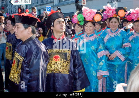 Paris France 'Street Scene' French Chinese in 'Traditional Costumes' Parading in 'Chinese new year' Carnival in - Stock Photo