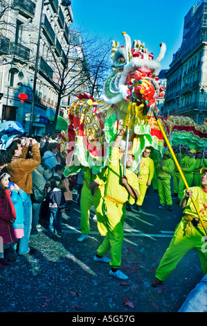 Paris France, 'Street Scene' French Chinese in Traditional 'Dragon Dance' Parading in 'Chinese new years' Carnival - Stock Photo