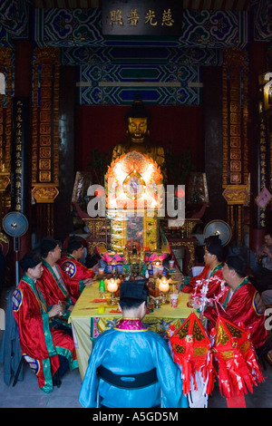 Double 9th or Double Yang Festival Buddhist Service 10 000 Buddhas Monastery Hong Kong China - Stock Photo