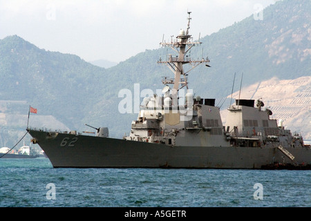 USS Chancellorsville CG 62, United States Navy Ship in Port Hong Kong 2006 - Stock Photo