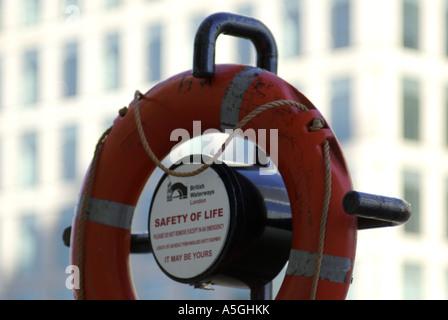 lifebuoy at Canary Wharf London - Stock Photo