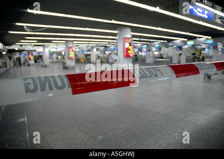 police barrier at the airport, Germany, Hesse, Frankfurt am Main - Stock Photo