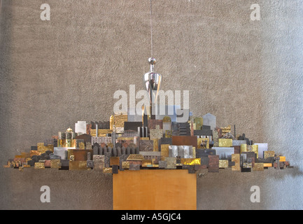 The Plumb line and the city a sculpture in the new Cathedral Coventry UK - Stock Photo