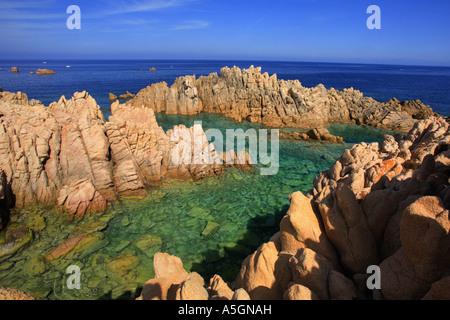 red cliffs , Italy, Sardegna, Costa Paradiso, Costa Paradiso - Stock Photo