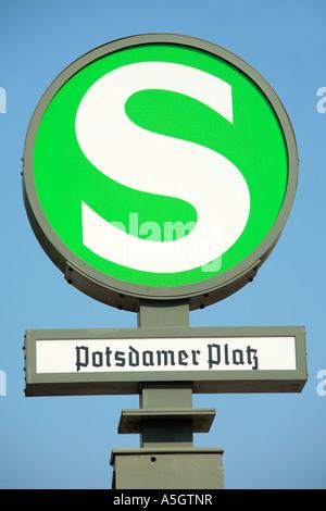 S-Bahn sign at Potsdamer Platz in Berlin - Stock Photo
