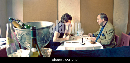 Couple Sharing Meals, Having Lunch, in Paris France French Bistro Restaurant 'Claude Colliot' - Stock Photo