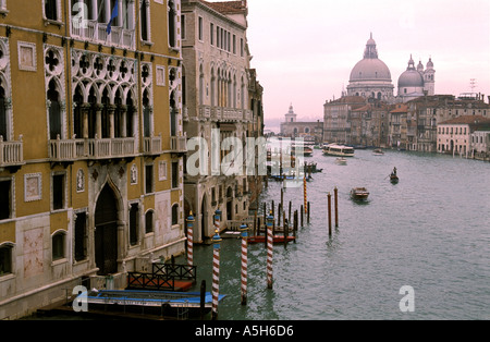 Classic view across the Grand Canal from Academia towards Santa Maria della Salute church Venice Italy - Stock Photo
