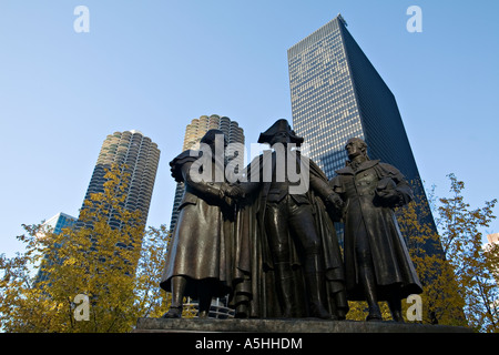 ILLINOIS Chicago Lorado Taft sculpture a Chicago Monument to George Washington Robert Morris and Haym Solomon - Stock Photo