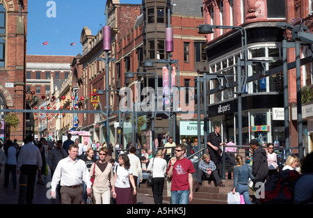 Shopping in Leeds City Centre, West Yorkshire, England - Stock Photo