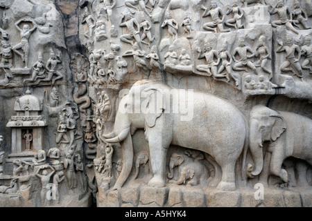 The rock sculptures of Arjunas Penance in Mamallapuram, Tamil Nadi Southern India - Stock Photo