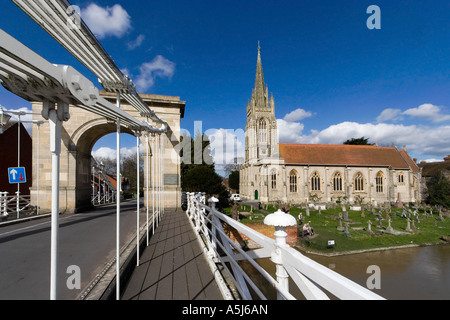 Suspension Bridge and All Saints Church, Marlow, Buckinghamshire, England, United Kingdom. - Stock Photo