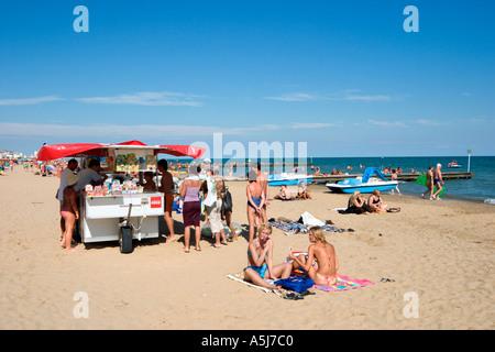 Beach, Lido de Jesolo, Venetian Riviera, Italy - Stock Photo