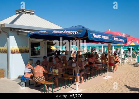 Beach Bar, Lido de Jesolo, Venetian Riviera, Italy - Stock Photo