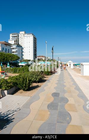 Beachfront Promenade, Lido de Jesolo, Venetian Riviera, Italy - Stock Photo