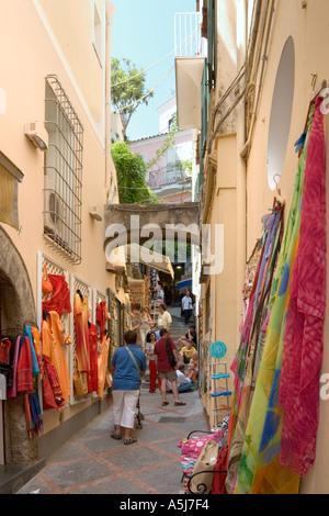 Shops on a side street in the resort centre, Positano, Amalfi Coastline (Costiera Amalfitana), Neapolitan Riviera, - Stock Photo