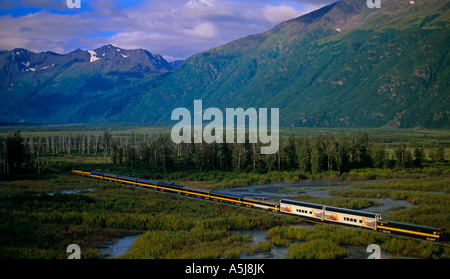 The Alaska Railroad and the Celebrity Tours Wilderness Express - Stock Photo