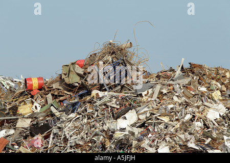 Large pile of scrap metal in a scrapyard, recycling, environmental issues - Stock Photo