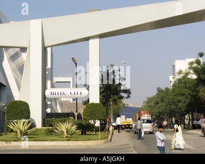 MGM102835 Hi Tech City buildings Hyderabad Andhra Pradesh India - Stock Photo