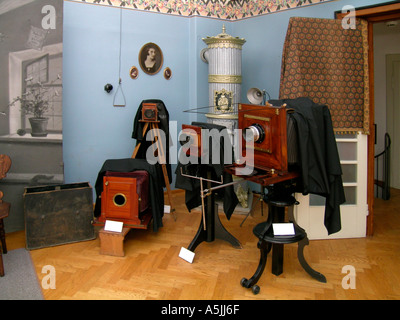old cameras in the Pelikan museum studio of the photograph Josip Pelikan in Celje Slovenia - Stock Photo