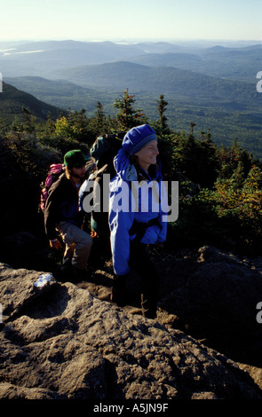 East Horn Bigelow Mountain ME Hiking on the Appalachian Trail Northern Forest  - Stock Photo