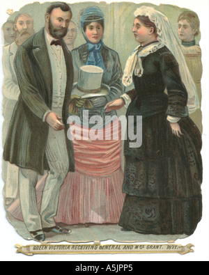 Die cut scrap showing Queen Victoria receiving General and Mrs Grant, 1877. - Stock Photo