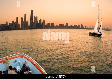 Sailboat on Lake Michigan during a Lake Michigan Boat Tour in Chicago Illinois - Stock Photo