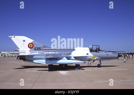 MiG 21 Lancer operated by the Romanian Air Force on display at Fairford RIAT - Stock Photo