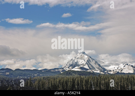 The 'North Sister' in The Cascade Range of Oregon is a shield volcano and is 10,085 feet (3,074 meters) high. - Stock Photo