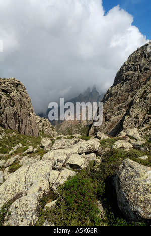 Monsoon clouds over the Hagghier, Haggier Mountains, Socotra island, UNESCO-World Heritage Site, Yemen - Stock Photo