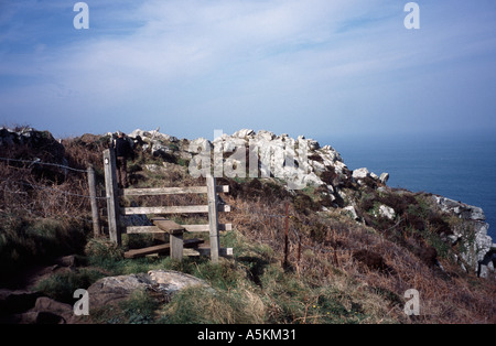 Wooden stile on the on the coastal path between St Ives and Zennor Cornwall, England UK - Stock Photo