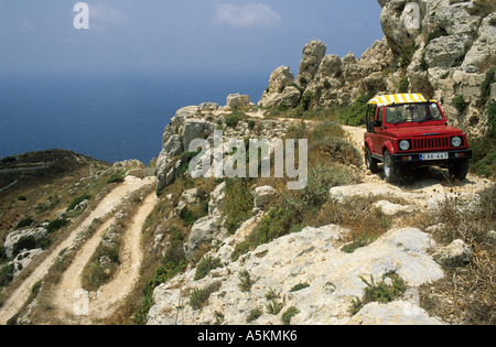 Small fourwheeldrive vehicle on a dirt road at Il-Fawwara, Malta - Stock Photo