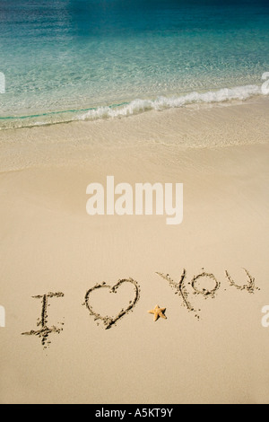 I Love You written in sand - Stock Photo